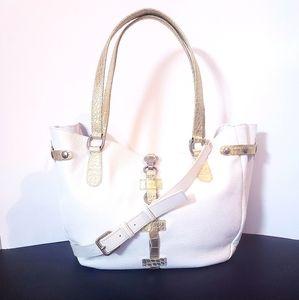 Cavalcanti Italian Leather Large White Tote Bag